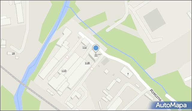 Limanowa, Rzeczna, 11, mapa Limanowa