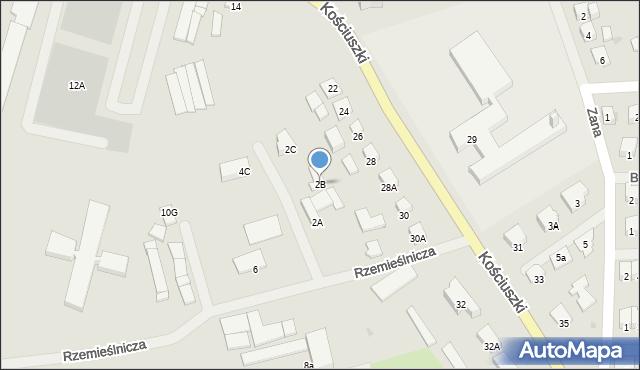 Olecko, Rzemieślnicza, 2B, mapa Olecko
