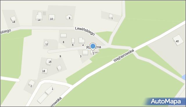 Robakowo, Rzeczna, 1, mapa Robakowo