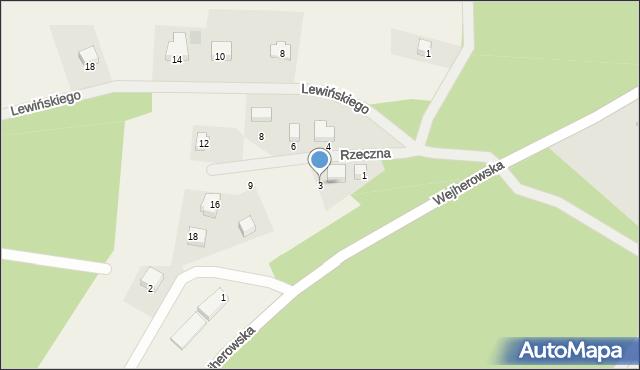 Robakowo, Rzeczna, 3, mapa Robakowo