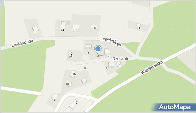 Robakowo, Rzeczna, 6, mapa Robakowo