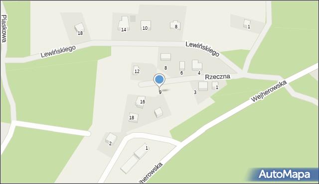 Robakowo, Rzeczna, 9, mapa Robakowo