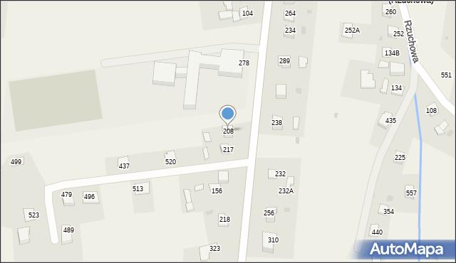 Rzuchowa, Rzuchowa, 208, mapa Rzuchowa