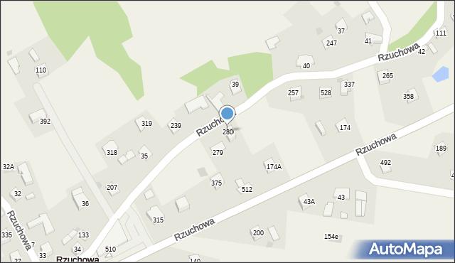 Rzuchowa, Rzuchowa, 280, mapa Rzuchowa