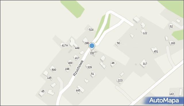 Rzuchowa, Rzuchowa, 332, mapa Rzuchowa