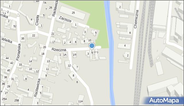 Sosnowiec, Rzeczna, 5, mapa Sosnowca