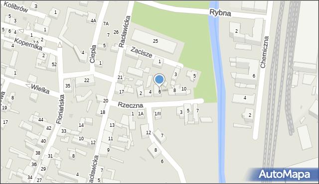 Sosnowiec, Rzeczna, 6, mapa Sosnowca