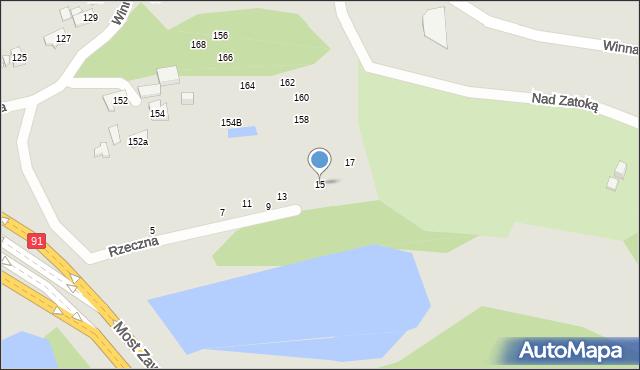 Toruń, Rzeczna, 15, mapa Torunia