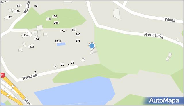 Toruń, Rzeczna, 17, mapa Torunia