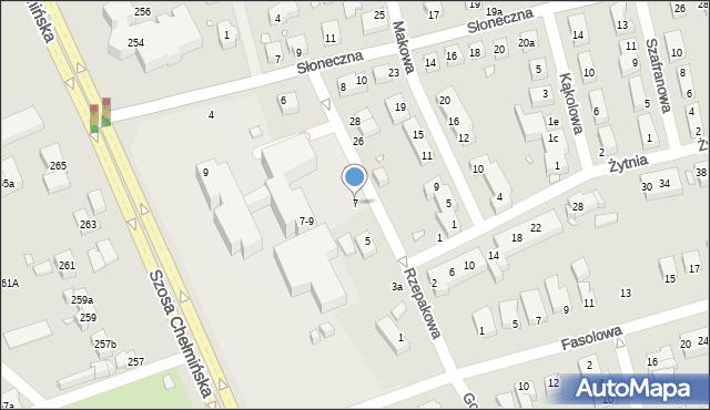 Toruń, Rzepakowa, 7, mapa Torunia