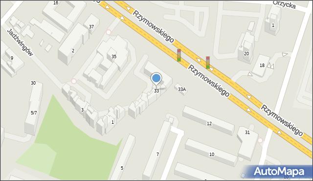 Warszawa, Rzymowskiego Wincentego, 33, mapa Warszawy