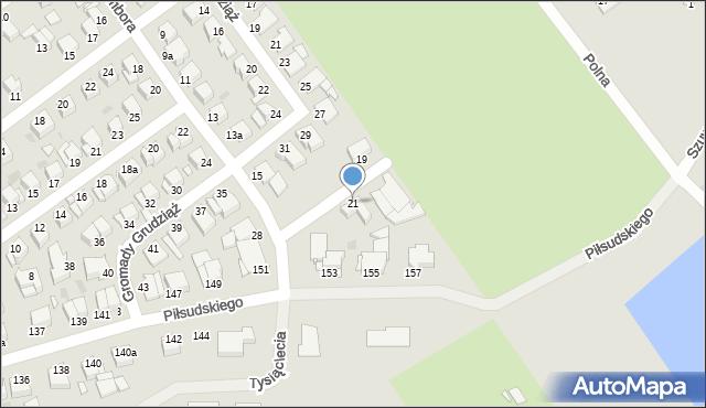 Grudziądz, Sambora, 21, mapa Grudziądza