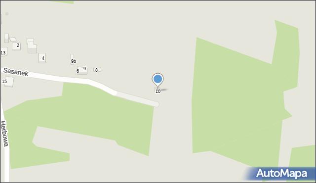 Jaworzno, Sasanek, 10, mapa Jaworzno