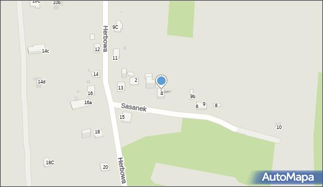 Jaworzno, Sasanek, 4, mapa Jaworzno