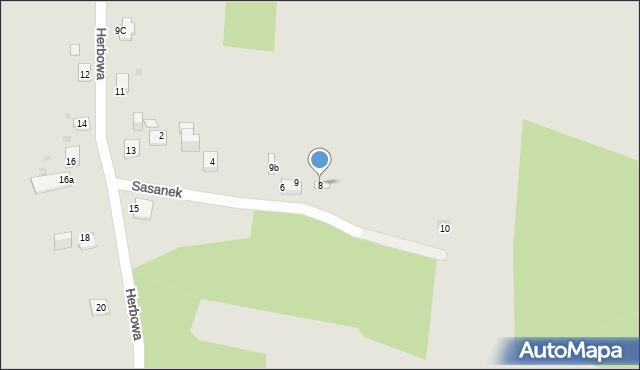 Jaworzno, Sasanek, 8, mapa Jaworzno