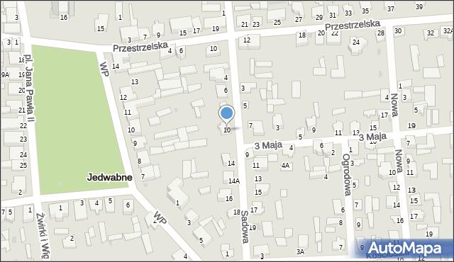 Jedwabne, Sadowa, 10, mapa Jedwabne