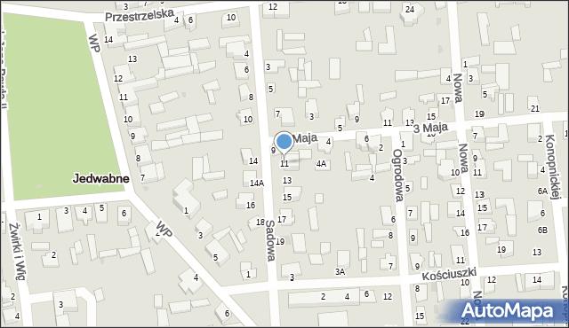 Jedwabne, Sadowa, 11, mapa Jedwabne