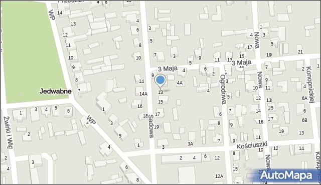 Jedwabne, Sadowa, 13, mapa Jedwabne