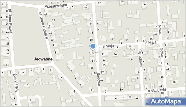 Jedwabne, Sadowa, 14, mapa Jedwabne