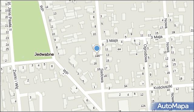 Jedwabne, Sadowa, 14A, mapa Jedwabne