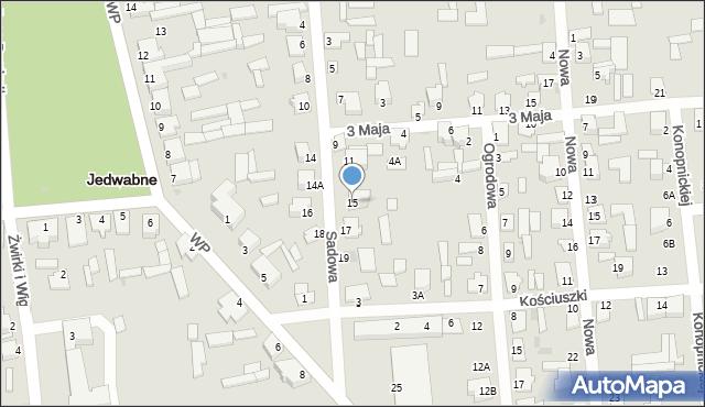 Jedwabne, Sadowa, 15, mapa Jedwabne