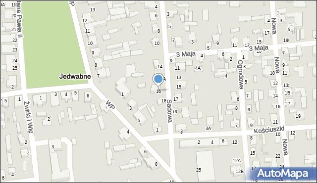 Jedwabne, Sadowa, 16, mapa Jedwabne