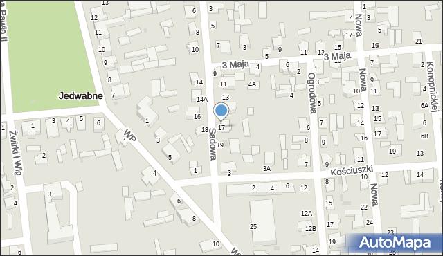 Jedwabne, Sadowa, 17, mapa Jedwabne