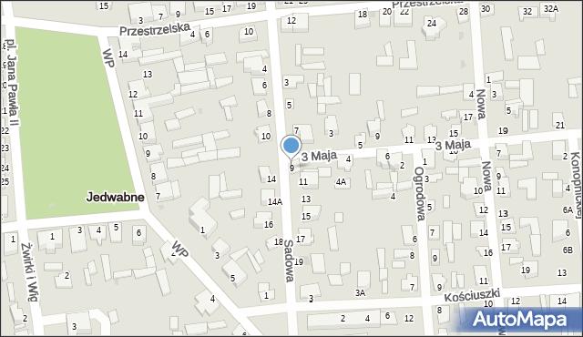 Jedwabne, Sadowa, 9, mapa Jedwabne