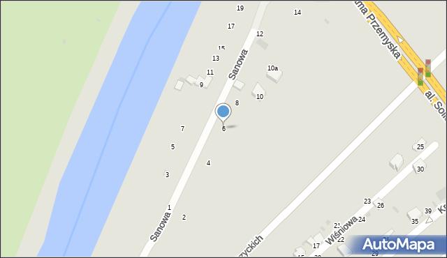 Przemyśl, Sanowa, 6, mapa Przemyśla