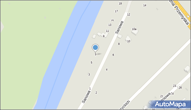 Przemyśl, Sanowa, 7, mapa Przemyśla