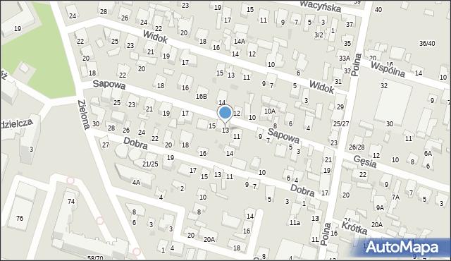 Radom, Sapowa, 13, mapa Radomia