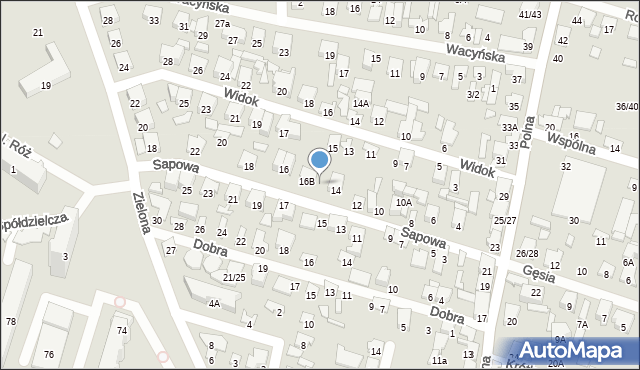 Radom, Sapowa, 14A, mapa Radomia