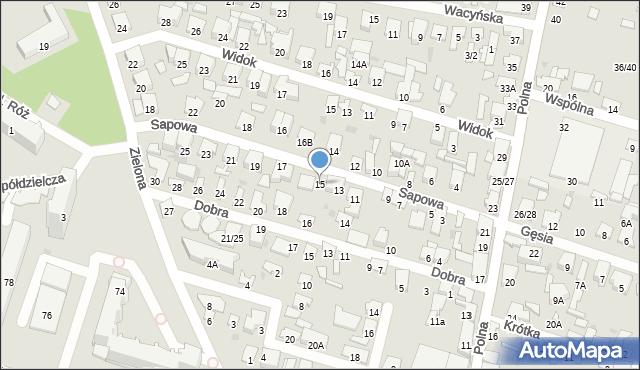 Radom, Sapowa, 15, mapa Radomia