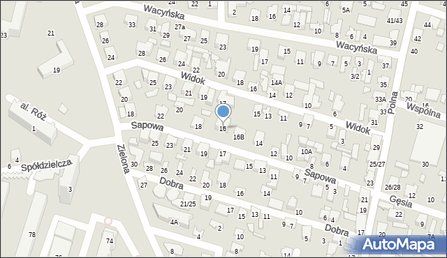 Radom, Sapowa, 16, mapa Radomia