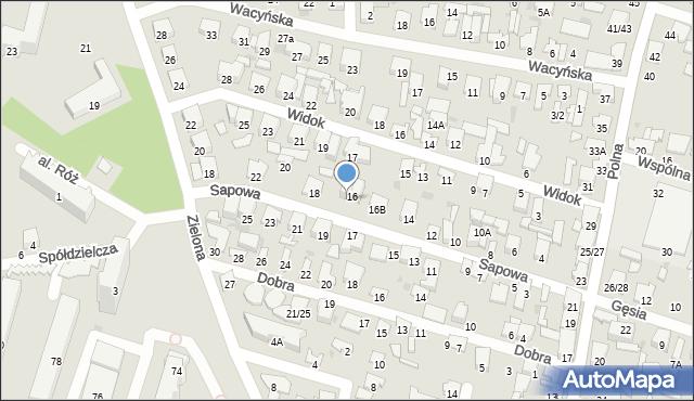 Radom, Sapowa, 16A, mapa Radomia