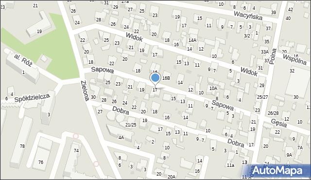Radom, Sapowa, 17, mapa Radomia