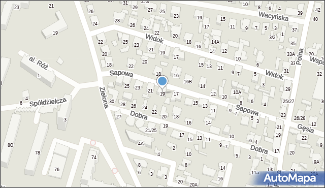 Radom, Sapowa, 19, mapa Radomia