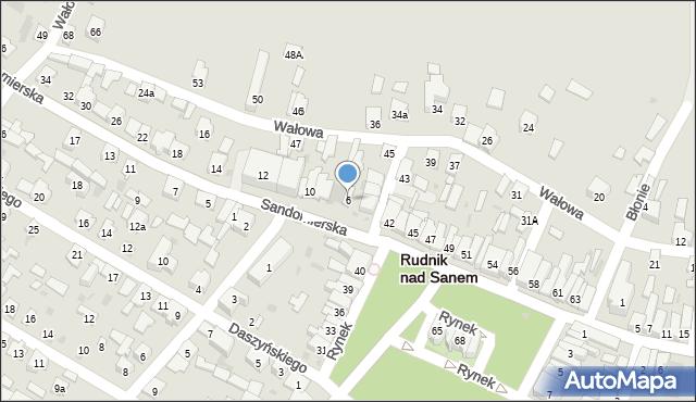 Rudnik nad Sanem, Sandomierska, 6, mapa Rudnik nad Sanem