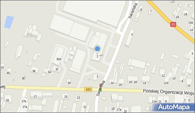 Sieradz, Sarańska, 1, mapa Sieradz