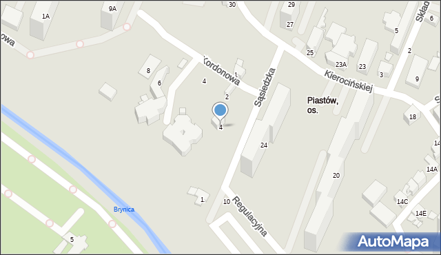 Sosnowiec, Sąsiedzka, 4, mapa Sosnowca