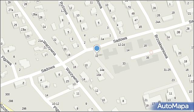 Toruń, Sadowa, 12, mapa Torunia