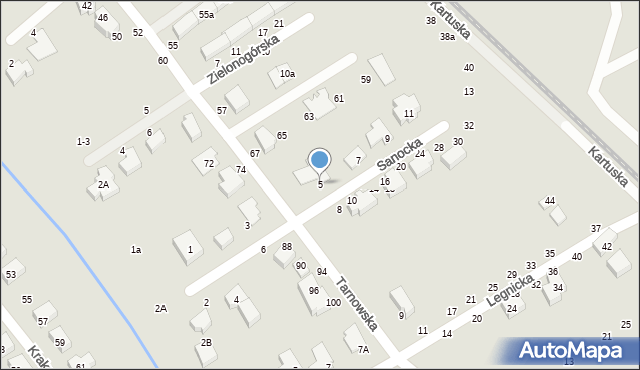 Toruń, Sanocka, 5, mapa Torunia