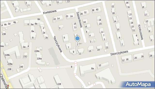 Toruń, Sasankowa, 1, mapa Torunia