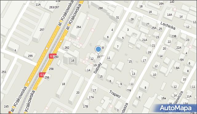 Warszawa, Sabały, 10, mapa Warszawy