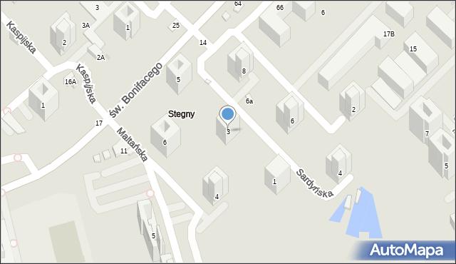 Warszawa, Sardyńska, 3, mapa Warszawy