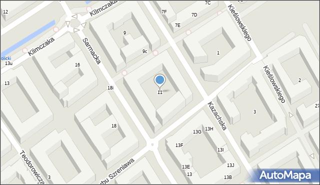 Warszawa, Sarmacka, 11, mapa Warszawy