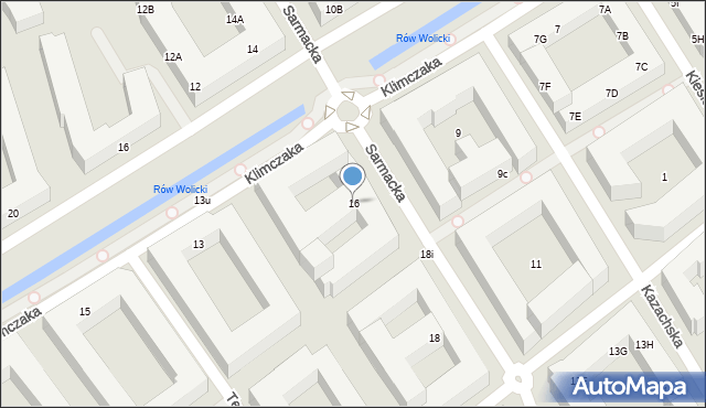 Warszawa, Sarmacka, 16, mapa Warszawy
