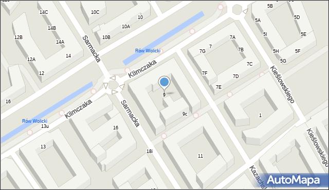 Warszawa, Sarmacka, 9, mapa Warszawy