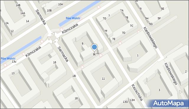 Warszawa, Sarmacka, 9c, mapa Warszawy