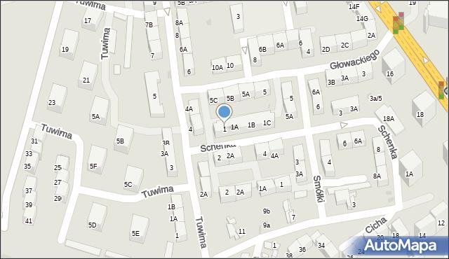 Bytom, Schenka Wacława, ks., 1, mapa Bytomia
